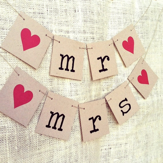 MR & MRS Rustic Wedding Banners, Chair Signs, Photo Booth Prop, Garland