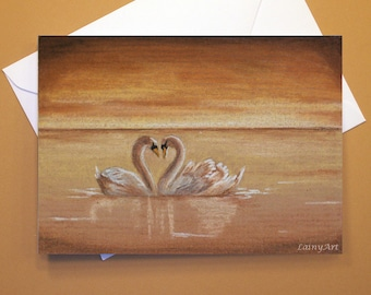 Art Greeting Card  - Created from Original ACEOs for Charity - Blank Notecard - 4x6 - Swan Love - Day 173