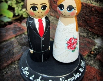 Wedding Cake Topper / Custom Painted Wood Peg Dolls with Plaque