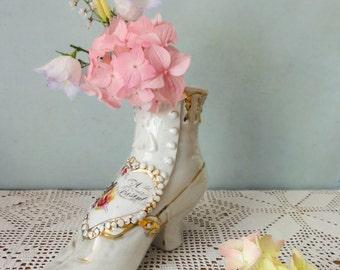 Vintage Victorian Porcelain Boot Vase Romantic Flowers Robin
