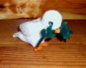 Needle felted white dove of peace with olive branch