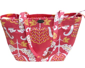 Pink purse // abstract print // zip top