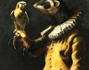 "Ferret and Kestrel Art -""From the Fist"" - 11x14 Giclee Cavas Print"
