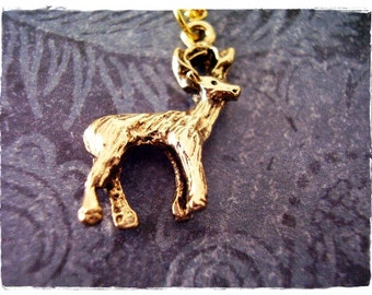 Gold Stag Necklace - Antique Gold Pewter Stag Charm on a Delicate Gold Plated Cable Chain or Charm Only