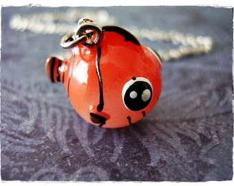 Red Clownfish Necklace - Red & Black Resin Clownfish Charm on a Delicate Silver Plated Cable Chain or Charm Only