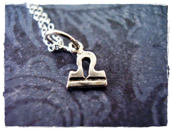 Tiny Libra Horoscope Sign Necklace - Sterling Silver Libra Charm on a Delicate Sterling Silver Cable Chain or Charm Only