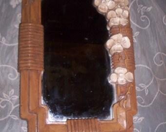 REDUCED Vtg 1980 Syroco Style Dogwood Flower Blossoms Wall Mirror, Homco, Hollywood Regency