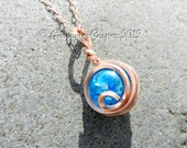 Scrying necklace fractured glass and copper