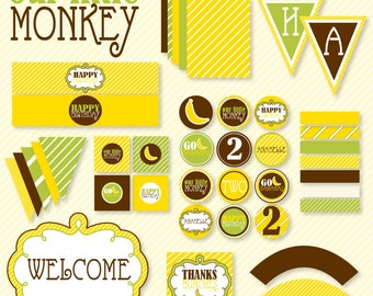 Monkey Party PRINTABLE Full Birthday Party by Love The Day
