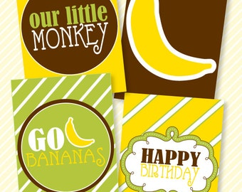Monkey Party PRINTABLE 5x7 Birthday Signs (INSTANT DOWNLOADS) by Love The Day