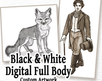 COMMISSION: Digital BW Drawing - 1 Full Body Character - Custom Art, Commissioned Art, Tattoo Design