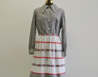 60s Dress / 70s Gingham Day Dress / Long Sleeve Dress / Rick Rack Dress / Jonathan Logan Dress / Edano M