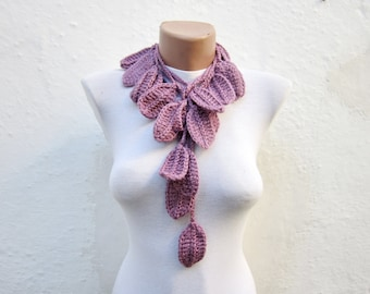 Crochet Lariat Scarf,Lilac Purple,Necklace Scarf,Leaf Scarf