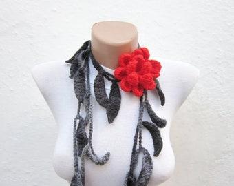 Lariat Scarf, crochet Scarves, Leaf Necklace, Flower Brooch Pin, Crochet Jewelry, Long Floral Accessories, Leaf Headband, Women Belt, Grey