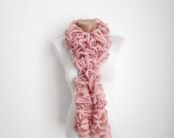 Knit Ruffle Scarf,Pink  Frilly scarf, Knitting Scarf, Winter Scarf, Knitting Sashay Accessories, Knitted Scarves, Fiber Art