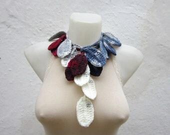 Lariat Scarf crochet scarf Grey Burgundy crochet Necklace winter scarf
