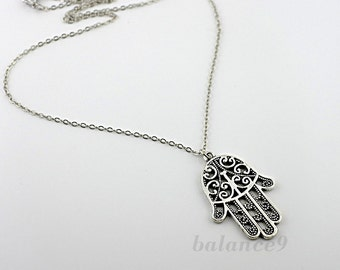 Hamsa Necklace, hand necklace, amulet jewelry, hand of Fatima, Antique silver filigree charm pendant, protect amulet gift, by balance9