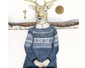 Deer Print illustration Deer in blue winter Jumper 8x11