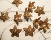 raw brass veined leaf petal bead cap (10) f103