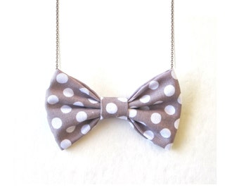 Grey White Polka Dot Bow Tie Necklace Gray Dots Women Bowtie