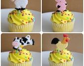 24 Barnyard Farm Animal Cupcake Topper Picks
