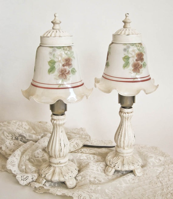 Small Table Lamps Glass Shades Cottage Chic Pair
