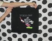 Patch - NO EXIT- Mickey Mouse - OOAK - Silkscreen - Hand Painted - Neon on Black