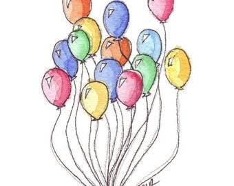 Watercolor Painting - Bunch of Balloons Watercolor Art Print, 5x7