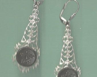 1800s Star Design Black Glass Button Earrings
