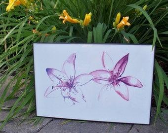 Purple Lilies Watercolor Painting PRINT