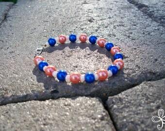Blue and Orange Glass Pearl Bracelet