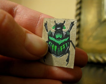 Hand Painted ACEO - Oops Tiniest Green Devil Scarab Beetle - Artistry To Alchemy