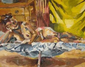 Reclining Nude Reading - Hurricane Katrina Damaged Portrait - Artistry To Alchemy