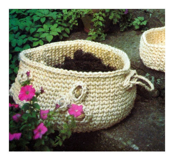 Crochet Rope Basket : Vintage Crochet Pattern Baskets Sisal Rope Sculpture 1970s Digital ...