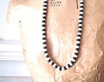 Black and White Long Vintage Beaded Necklace * On Sale!