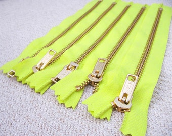 7inch - Neon Yellow Metal Zipper - Gold Teeth - 5pcs