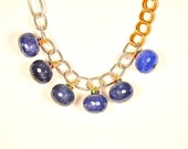Royal Blue beaded necklace accented with multicolor rinestones : Jewelry approximately 16 plus long