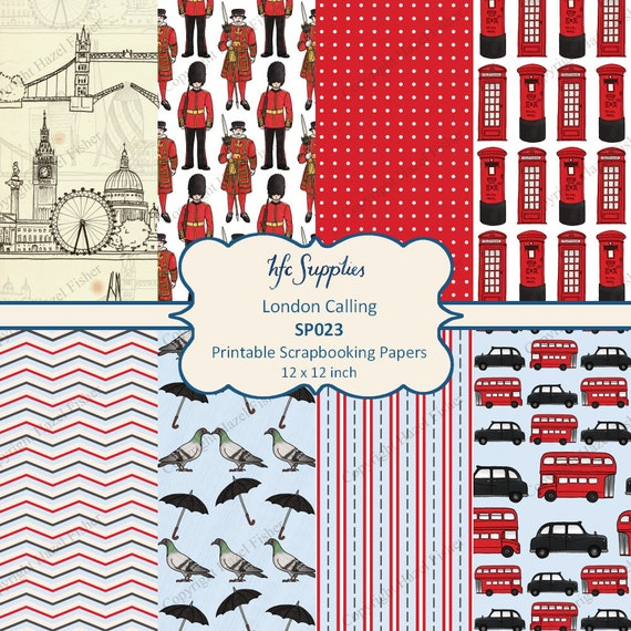 London Calling Digital Papers - London skyline, soldier, beefeater, red bus, taxi, pigeon Printable Scrapbooking Papers - 12x12 inch SP023