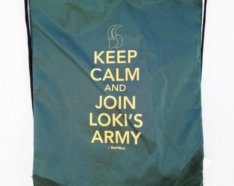 Loki's Army Avengers Drawstring Backpack: Keep Calm and Join Loki's Army