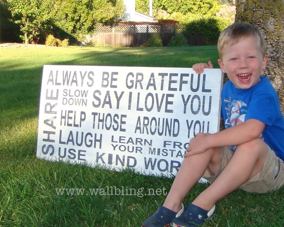 EXTRA LARGE Horizontal Distressed Subway Art Sign - Always Be Grateful, Say I Love You... (18x36)