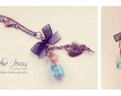 Black Bow Tiny glass Bottle Necklace, with glitter stars. CUSTOM STARS COLOR. Glass Vial necklace miniature Bottle Pendant Cute Necklace