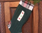 Wool Christmas Stocking with Rustic Hand Stitiching