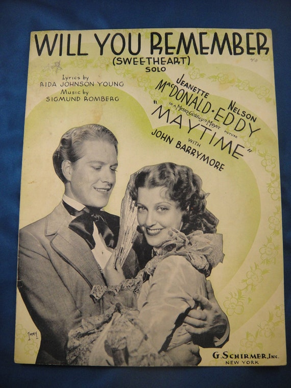 Will You Remember (Sweetheart) Sheet Music from Maytime 1937