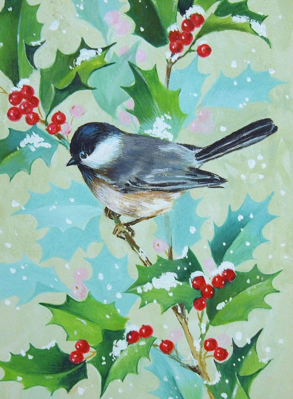 Beautiful vintage hand painted watercolor christmas by for Painted christmas cards