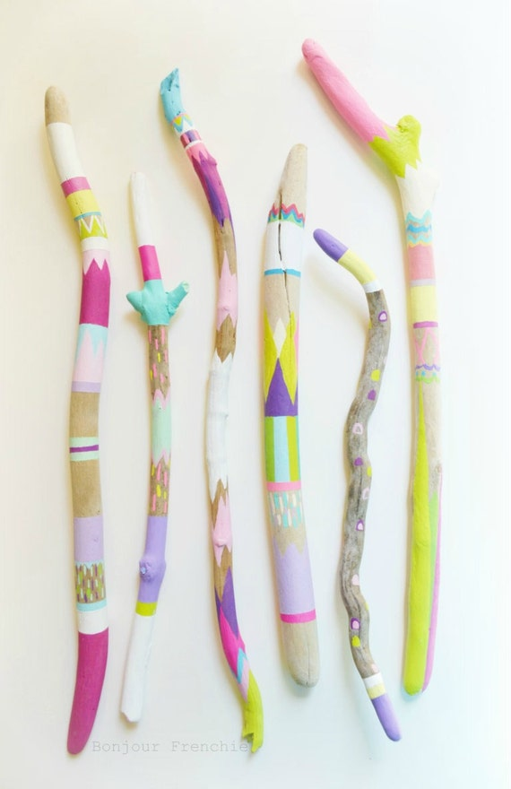Painted Sticks, Driftwood 6 Piece Set, Long, Skinny - Triangles, Pattern, Bohemian, Boho Beach, Ocean Cottage, California, Neon, Pastel