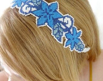 Multipurpose Blue Flower Accessory / Beaded Headband / Blue Choker / Ribbon Headband / Tie On Anklet