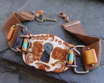 Stoneware Keyhole, Vulcanite, Ceramic, Leather and Copper Bracelet Boho
