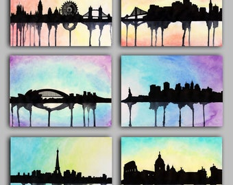 "Watercolour City Series, London, New York, Paris, Rome, Sydney, San Francisco, Prints 5"" x 7"" - Paint the Moment"