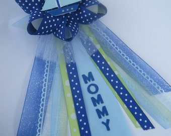 Sailboat CORSAGE in Blue and Green  personalized for Mommy