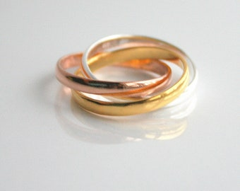Triple rings, gold, rose gold, silver, stacking, rings - TRIPLE STACKED RINGS